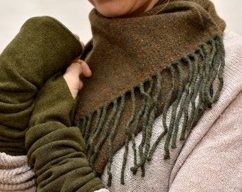 Neck Warmer, Wool Cowl, Fringed Scarf (reduced price!)