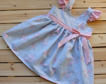 Ready to Ship: Infant girls summer dress Easter dress flutter sleeve dress girls pinafore baby blue pink flowers