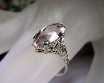 Art Deco Ring, 14K White Gold Ring, Amethyst Ring, Lavender Ring, Edwardian Ring, Marquise Ring, Amethyst Marquise, Vintage Ring – Size 5.75