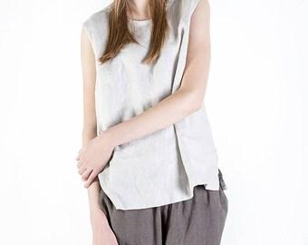 Linen shirt, Loose fitted linen blouse JONNA, Stonewashed 100 % linen blouse, Linen top, Sleeveless Linen Top, Summer Top, Loose linen top