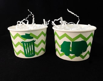 Treat Cups - Garbage Truck Birthday - Garbage Truck Party - Trash Truck Party - Trash Can - Waste Management - Truck Party - Party Decor