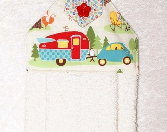Camping Hand Towel • Kitchen Towel • Retro Camper • Travel Trailer Decor • Cream Camping Towel • Airstream • Camper • Shasta • Teardrop