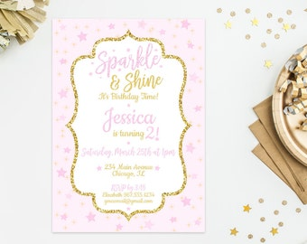 Pink Sparkle & Shine Birthday Invitation, Girls Birthday Invite, Twinkle Star Invitation, Sparkle Party, 4x6 5x7- Printable, Digital File