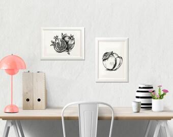 Rosh Hashana decor, Fruit printables, Black and white art print, Set of 2, Apple sketch, Pomegranate image, Kitchen decor