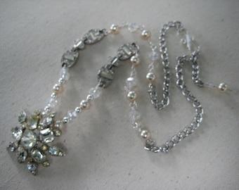 Vintage Assemblage Rhinestone Necklace, Vintage Pearls, Crystal Beads, Bridal Necklace, Wedding, Formal,Repurposed,Recycled,Vintage /N109