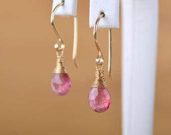 Pink Tourmaline Earrings, October Birthstone Earrings, Dangle Earrings natural crystal Earrings: 14k Gold Filled, Rose Gold, Sterling Silver