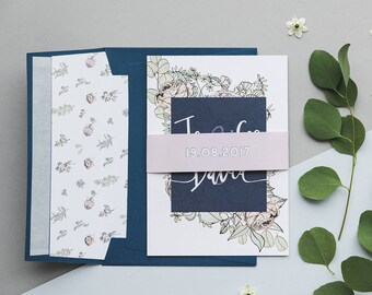 Eucalyptus Wedding Invitations - Eucalyptus Invitation Suite - Lilac Wedding Invitation - Navy Wedding - Dusty Rose Wedding - SAMPLE