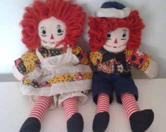 Vintage 1970's Raggedy Ann and Andy Handmade Cloth Dolls Embroidered Features Rag Dolls Kitsch