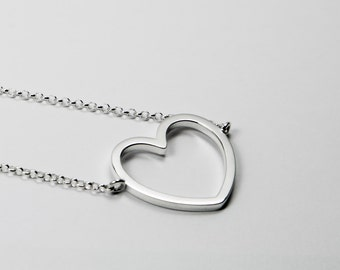 Empty Heart Necklace - Silver 925 - Chain Necklace with Empty Heart
