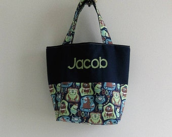 Personalized Boy Tote Bag  * Personalized Trick or Treat Bag * Halloween Bag * Halloween Tote * Monster Tote Bag *   Halloween * Treat Bag