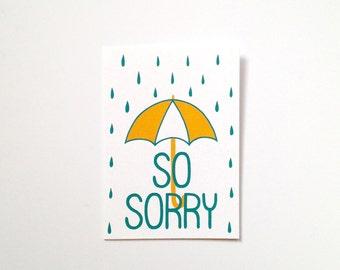 Screen Printed Sympathy Card - So Sorry