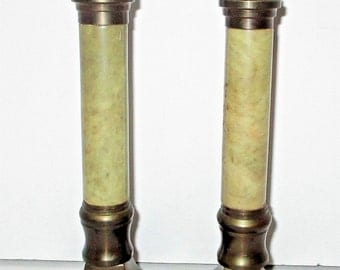 Vintage Egyptian Revival Solid Brass Onyx Pair Candlesticks India Candle Holder