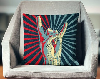 Rock and Roll Pillow | Rock on Hand | Rock n Roll Decor | Rock and Roll Decor | Rock Pillow | Music Pillow | Rock and Roll Art