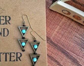 Geometric earrings + howlite | Gemstone earrings | Triangle earrings