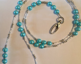 Glass Pearl Silver Beaded Lanyard ID Badge/Pass/Card Holder - Customize your own colour