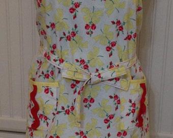 Vintage style full apron, women's apron, yellow bows, red carnations, bib neck, vintage feel, cotton, red trim, littlebird logo apron