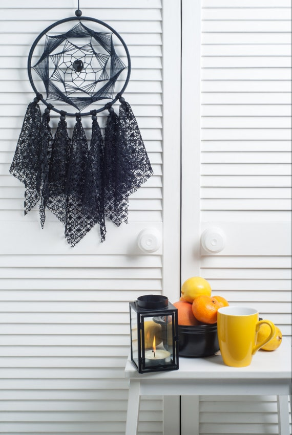 Black Dream Catcher, Medium Dreamcatcher, bedroom decor, lace dreamcatchers, wall decor, wall hanging, handmade