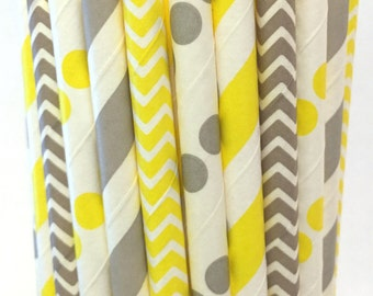 2.85 US Shipping -Yellow and Gray Paper Straws - Gray and Yellow Straws - Cake Pop Sticks - Drinking Straws