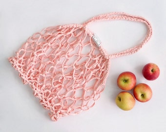 Premium Farmers Market Bag Macrame Mesh Net Shopper with T-shirt Yarn & Silver Leather Trim, Peach Pink Expandable String Eco Shopping Tote