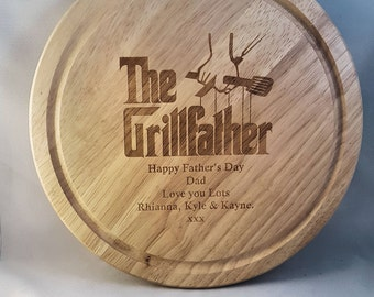 BBQ Chopping Board - The Grillfather - Unique Gift - Chef Gift - Personalised - Custom Board - Personalized Gift - Baking Gift -Gift for Dad