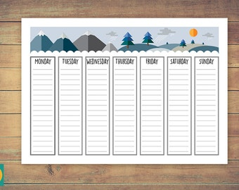 Weekly family planner, Printable calendar agenda schedule 2017, Winter themed organizer