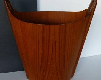 PS Heggen Teak Trash Can Waste Basket Mid-Century Scandinavian Nordic Design