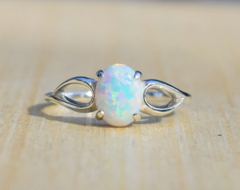 Opal Ring, White Opal Ring, Blue Opal Ring, Pink Opal Ring, Mexican Opal Ring, Sterling Silver Ring