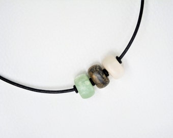 Soapstone necklace - necklace - multi color - soapstone beads - gift -.