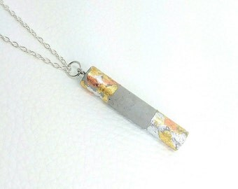 Necklace concrete cylinder sheet metal tricolor - gift