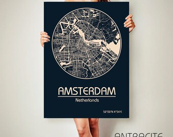 AMSTERDAM Netherlands CANVAS Map Amsterdam Netherlands Poster City Map Amsterdam Netherlands Art Print Amsterdam Netherlands poster