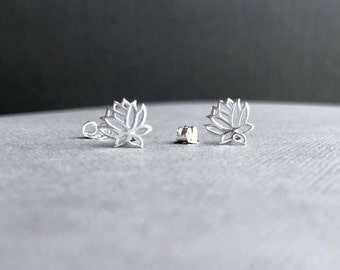 Silver Lotus Earrings, Open Lotus, Sterling Studs, Yoga Jewelry, Solid 925 Silver Posts, Tiny Stud Earrings, Everyday, Dainty Lotus Jewelry