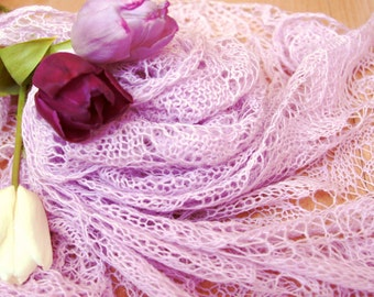 Hand knitted lace shawl triangular light lavender merino shawl delicate soft airy ready to ship lightweight wedding pink shawl
