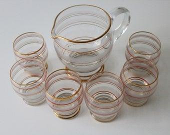 1930s jug and 6 glasses lemonade set gold rimmed art deco