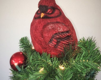 Snowy Cardinal - L Christmas Tree Topper