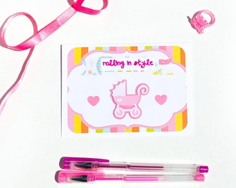 rolling in style - it's a girl - handmade punny card - expecting baby - greeting card - baby girl - stroller