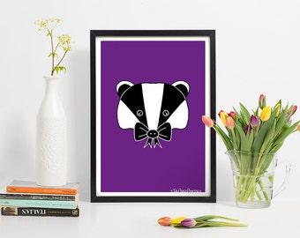 Badger Print-A4-Badger Gift for her-Cute Gifts for teen girls room decor-Purple Art-Badger Lover-Woodland Animal Nursery Print-Kids Room Art