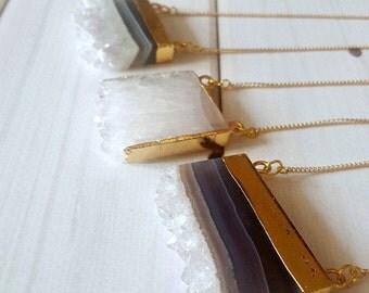 Layered Amethyst Necklace / Raw Amethyst Necklace / Amethyst Boho Necklace / Druzy Amethyst Necklace / Druzy Necklace/Boho Druzy Necklace White