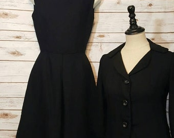 Vintage, 1960's, Neiman Marcus black fitted dress with matching cropped jacket, XS