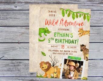 Safari Birthday Invitation, Zoo Birthday, Zoo Invitation, Jungle Birthday Invitation, Wild Adventure Invitations, Zoo themed invites,