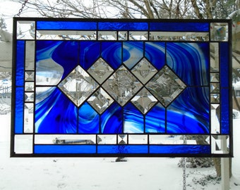 Large Blue and Clear Baroque Beveled Stained Glass Panel with Blue Granite and Bevel Border, Silver Lines, 21.5 x 13.5 in.