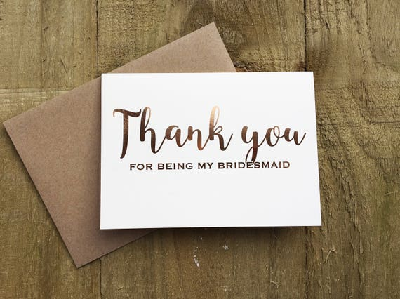 rose gold 'thank you for being my bridesmaid' cards
