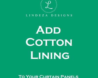 Cotton Lining - Add Lining to Your Pair of Curtain Panels - Drapery Lining - Lined Drapes - Lined Curtains - White Lining - Custom Sizes