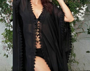 Black Beach Caftan, Swimsuit Coverups, Beach coverup, Beach Cover ups, Beach Cover-up, Handmade, Honeymoon, Vacation, Resort, black Tunic
