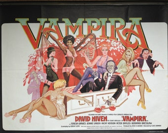 Vampira 1974 Original UK Quad Movie Poster British Horror Film Stars David Niven as Dracula Directed by Clive Donner Poster Art by Vic Fair