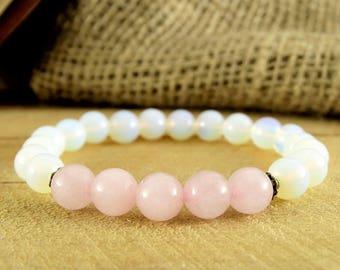 Moonstone Jewelry Rose Quartz Bracelet Fertility Bracelet Women Gift For Girl Yoga Jewelry Healing Stone Woman Healing Woman Bracelet Energy