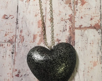 Black Glitter Heart Necklace - statement jewellery, statement pendant, heart pendant, heart jewellery, glitter jewellery, gifts for her
