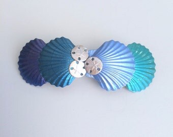 Sea Shell Barrette Extra Large Women's French Barrette, Scallop shells and Sand Dollars barrette, Shell Hair Clip