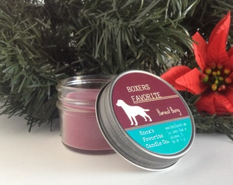 Scented Candle, Harvest Berry Soy Candle, Dog Lover Gift, Gift for Her, Gift for Him, Dog Candle, Boxers Favorite Soy Candle 4oz Mason Jar