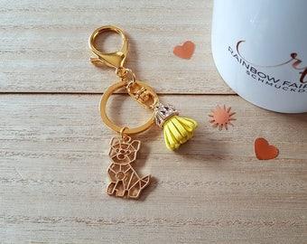 """Key ring/ring """"Dog"""" gold"""