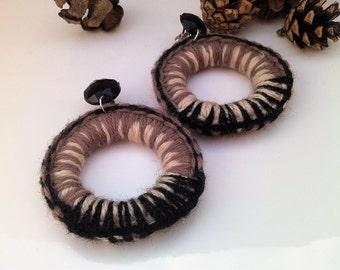 Crochet Jewelry-Crochet earrings-Clip On Earrings-Statement Earrings-Donat Earrings-Unique handmade earrings-Gift for her
